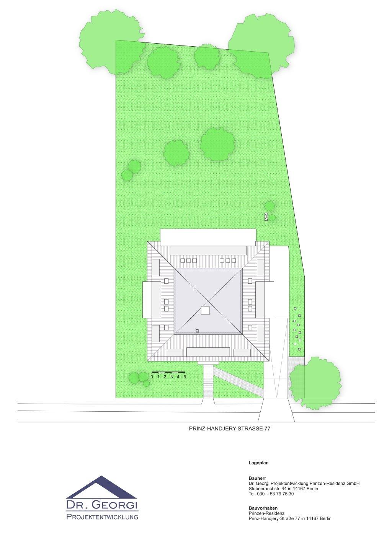 Ein Grundriss des Grundstücks der Prinzen-Residenz in Berlin Zehlendorf